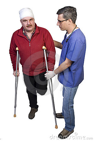 Doctor Help a Man with Broken Leg