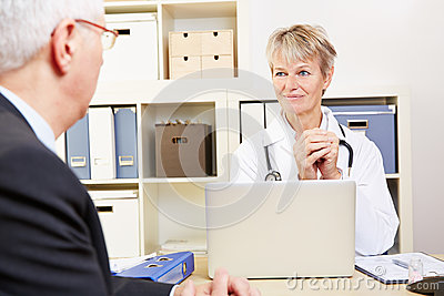 Doctor in her office talking