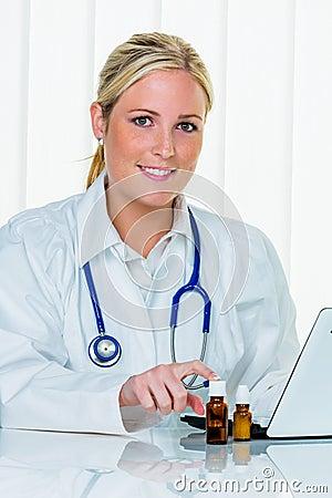 Doctor in her practice