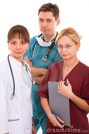 Doctor with his young medical team