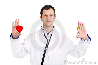 Doctor hold heart and a cigaret