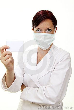 Doctor holding blank card