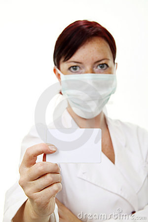 Free Doctor Holding Blank Card Stock Photography - 10245162