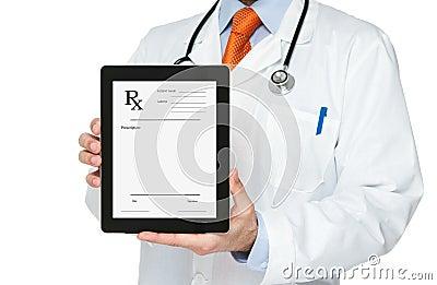 Doctor holding digital tablet with prescription