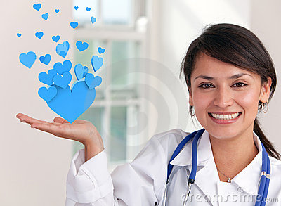 Doctor holding hearts
