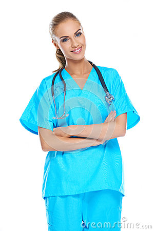 Doctor holding her stethoscope around her neck