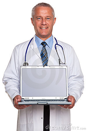 Doctor holding laptop clipping path for screen.