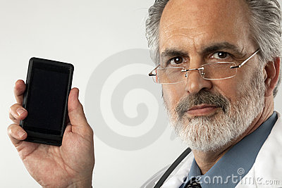 Doctor Holding up Cell Phone
