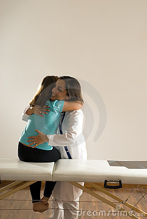 Doctor Hugs Girl-Vertical