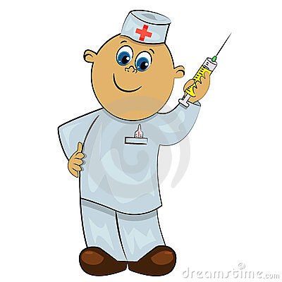 Doctor with injection. healthcare illustra