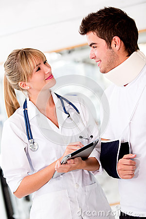 Doctor with an injured patient