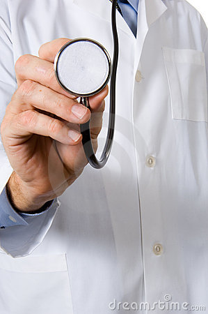 Doctor with lab coat and stethoscope