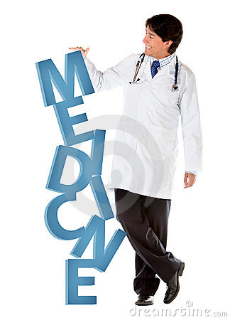 Doctor leaning on word medicine