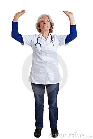 Doctor lifting arms
