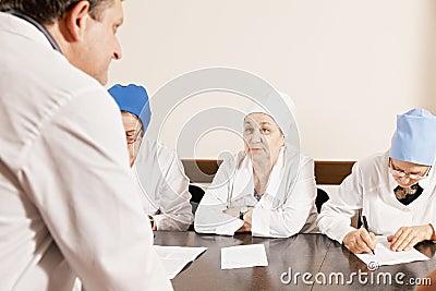 Doctor listening speaker