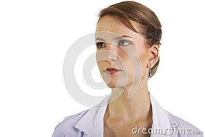 Doctor looking at copyspace