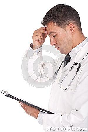 Doctor looking worried