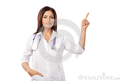 Doctor makes a pointing finger gesture