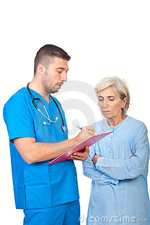 Doctor male write prescription for patient