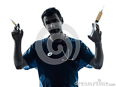 Doctor man holding hypodermic syringe silhouette