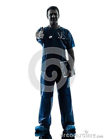 Doctor man silhouette standing full length gesturing handshake