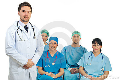 Doctor man teacher in a classroom