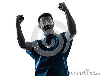 Doctor man triumphant silhouette portrait