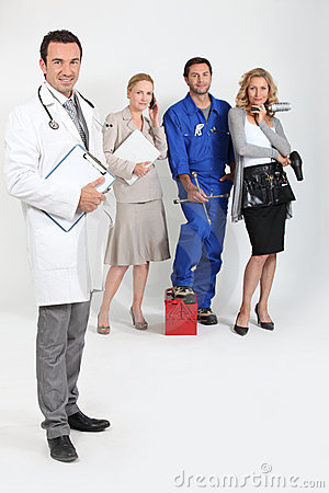 Doctor, mechanic, doctor and secretary.