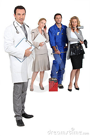 Doctor, mechanic, MD and secretary.