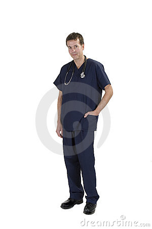 Doctor in medical scrubs