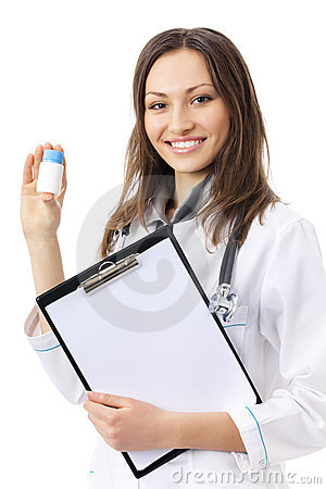 Doctor with medicament, on white