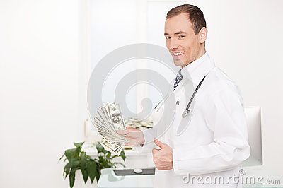 Doctor with money.