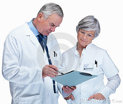Doctor and nurse discussing a report on white