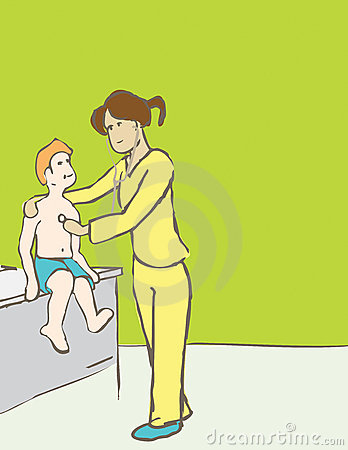 Doctor or Nurse examining a patient