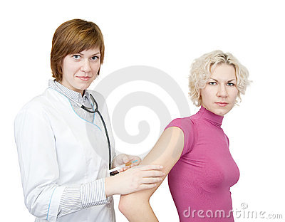 Doctor or nurse and a patient