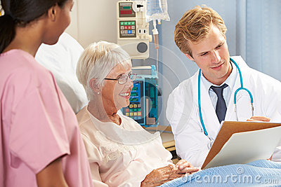 Doctor With Nurse Talking To Senior Female Patient In Bed