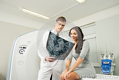 Doctor patient at the computed tomography