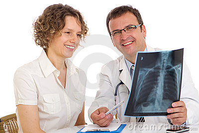 Doctor and patient looking an x-ray image