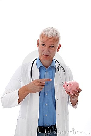 Doctor with piggy bank