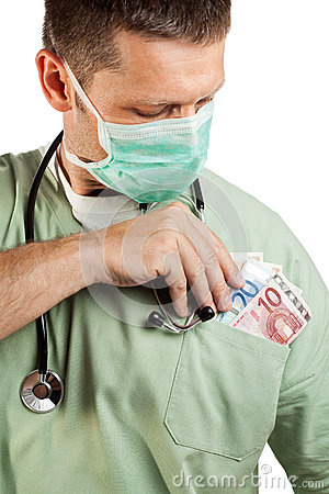 Doctor placing money in his pocket.