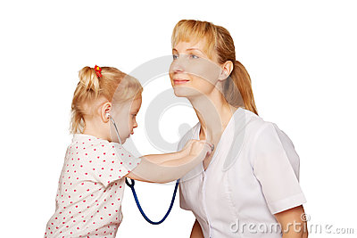 Doctor playing with child.