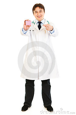 Doctor pointing finger on pack of pills