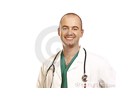 Doctor portrait on white background