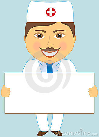Doctor With Poster On Blue Background Royalty Free Stock Images - Image: 23882839
