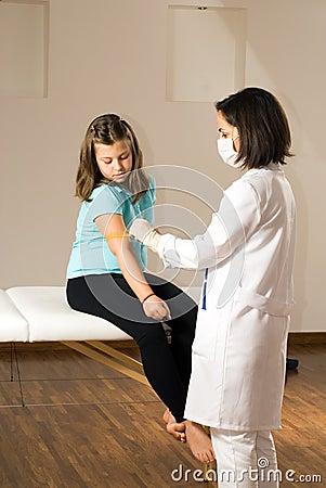 Doctor Prepares Young Patient s Arm-Vertical