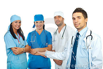 Doctor presenting his team