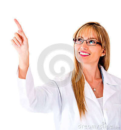 Doctor pressing a button on a screen