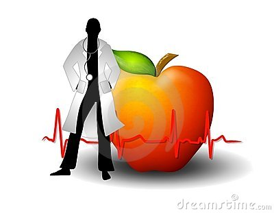 Doctor With Red Apple And EKG