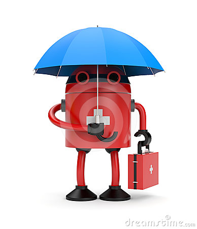 Doctor robot with umbrella