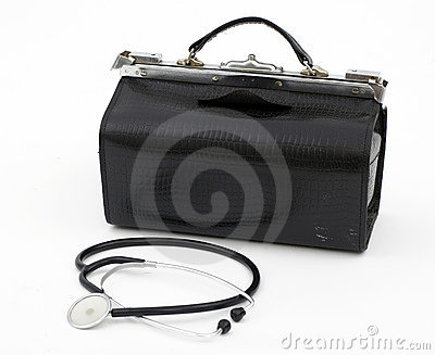 Doctor s bag with stethoscope lying near